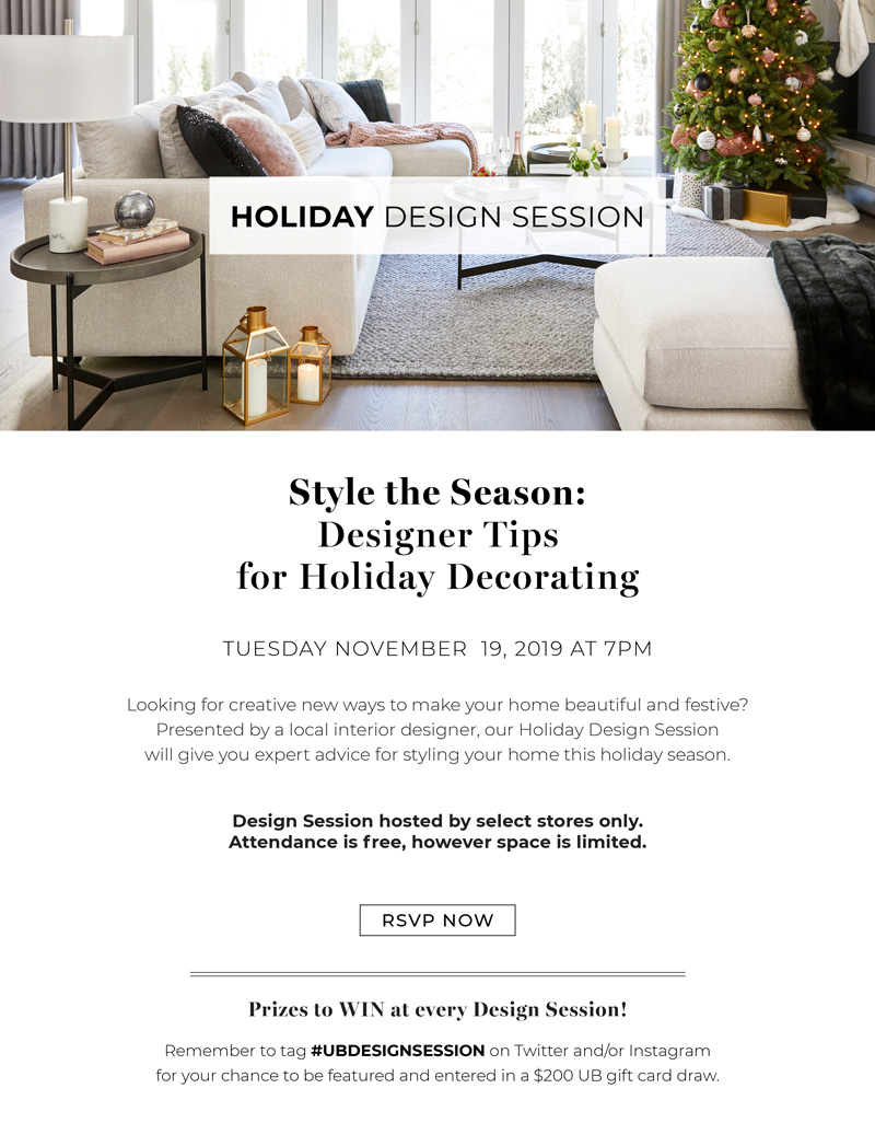 Holiday Design Session - Style the Season: Designer Tips for Holiday Decorating (Tuesday November 19, 2019 at 7pm)